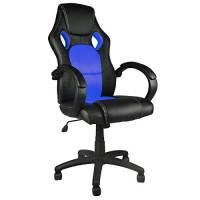 BAKAJI Sedia Sportiva Poltrona Direzionale da Ufficio 4 Ruote Girevole 360° Modello Racer Gaming Design Extra Lusso in Ecopelle Nero e Tessuto Blu