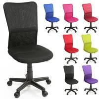 TRESKO® Sedia da Ufficio Sedia da scrivania Girevole, in 6 Colori Diversi, Regolabile in Altezza, Sedile Imbottito, Sedia ergonomica, pistone Approvato SGS (Nero)