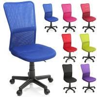 TRESKO® Sedia da Ufficio Sedia da scrivania Girevole, in 6 Colori Diversi, Regolabile in Altezza, Sedile Imbottito, Sedia ergonomica, pistone Approvato SGS (Blu)