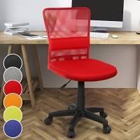 Miadomodo Sedia Poltrona Girevole da Ufficio scrivania con Schienale in Rete e Sedile Imbottito Altezza Regolabile 82 – 92 cm Colore Rosso