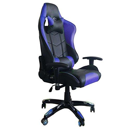 MCTECH Sedia da Ufficio Gaming Racing Poltrona Sedia in Similpelle a Rete Altezza Regolabile (Nero-Blu)