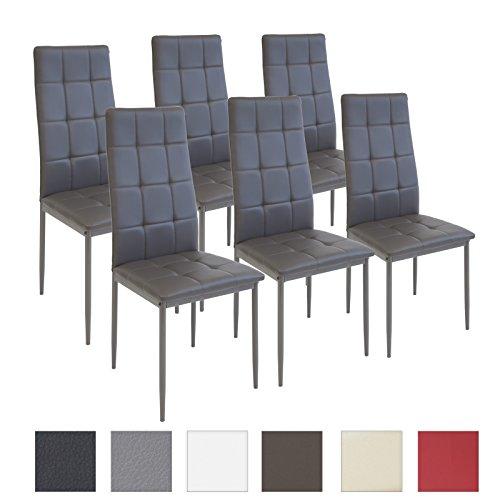 Albatros sedia per sala da pranzo RIMINI, Set di 6 sedie, grigio, SGS testato